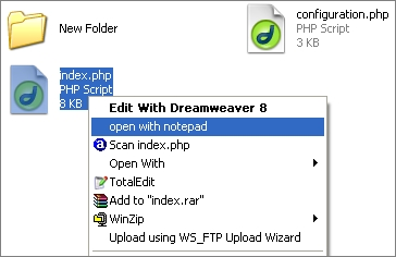 open with notepad